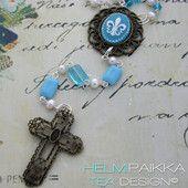 Turkoosi rukousnauha 40€ #rukousnauha #rosario #usko #rakkaus #risti #kristinusko #helmipaikka