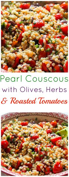 Pearl Couscous with Olives and Roasted Tomatoes - Baker by Nature - Pearl Cousc. - Pearl Couscous with Olives and Roasted Tomatoes – Baker by Nature – Pearl Couscous with Olives - Veggie Recipes, Vegetarian Recipes, Cooking Recipes, Healthy Recipes, Cooking Rice, Veggie Food, Pork Recipes, Healthy Snacks, Recipies