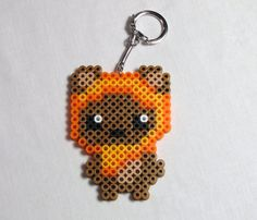 Youve never seen Ewoks quite so cute before! Ewok Star Wars perler bead creation on a metal keychan  Size: 4 x 3