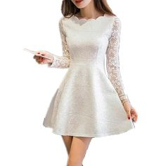 Primavera Verão Outono Lace Mulheres Vestido Casual Vestidos de Festa Vestido de Manga Longa Coreano Preto Branco Rosa Mini Vestido Robe Dentelle
