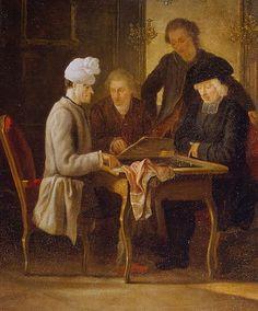 Voltaire jouant aux échecs avec le père Adam - Jean Huber (1721-1786)