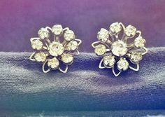 1950's Rhinestone Flower Screw Back Earrings by Lonestarblondie, $12.00