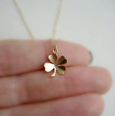 Clover Necklace In Gold or Silver Lucky Charm by AnechkasJewelry