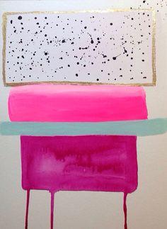 Abstract Pink Painting 9x12  Artist Jennifer Flannigan