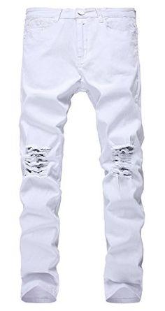 26e09342b79d NITAGUT Men s Slim Fit Stretch Destroyed Ripped Skinny Denim Jeans  White-32Wx31L