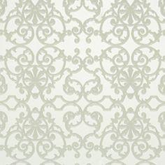 Zilver behang, gebaseerd op sierhekwerk