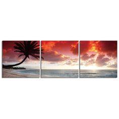 "Elementem Photography: ""Oahu Palm"" Photography Print 3-Panel Panoramic Wall Art"