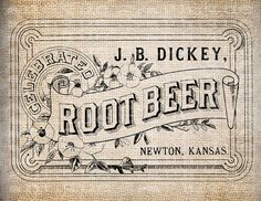 Antique Root Beer Label Vintage Illustration Digital Download for Papercrafts, Transfer, Pillows, etc Burlap No. 3953