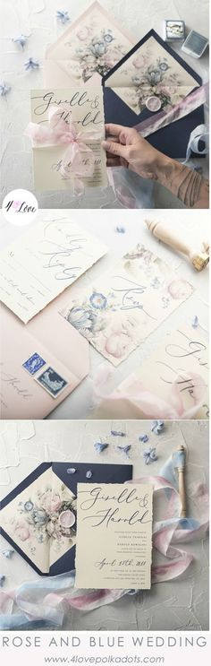 Pink Rose and Navy Blue colour combination for your wedding invitations. Very romantic design with modern calligraphy and floral printing. Unique way to invite your guests to Your Special Day #wedding