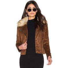 John & Jenn by Line Hudson Faux Suede Moto Jacket with Faux Fur Collar (£155) ❤ liked on Polyvore featuring outerwear, jackets, coats & jackets, moto jacket, motorcycle jackets, brown motorcycle jacket, brown jacket and biker jacket