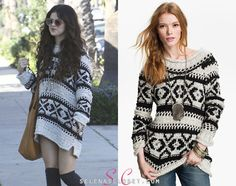 Selena Gomez was photographed out and about after hitting the studio yesterday wearing a Free People 'Silver Reed' Chunky Sweater in color Snow Combo. This sweater is on sale from Bloomingdales for $100.80.   Buy it HERE  She wore this with Fergie Shoes and two Free People Necklaces. We're still looking for the rest of her outfit.