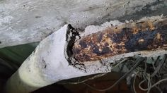 Asbestos pipe insulation in very poor condition