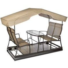 Glider with table and seating Outdoor Glider, Gliders, Shoe Rack, My House, Yard, Craft Ideas, Spaces, Cool Stuff, Table