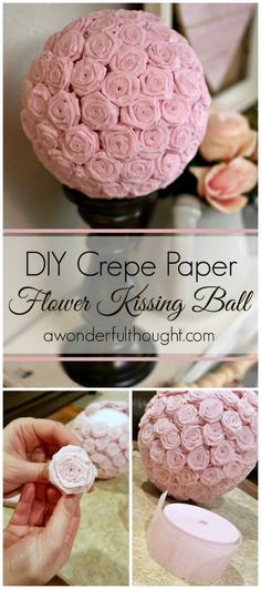 Learn how to make a DIY crepe paper flower kissing ball.  Video included in tutorial!  These are great for decoration for weddings, baby showers, holidays and everyday!