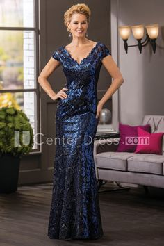 $134.49-Modern V-Neck Lace Deep Blue Long Mother Of The Bride Dress With Sequins and V-Back. http://www.ucenterdress.com/cap-sleeved-v-neck-long-mother-of-the-bride-dress-with-allover-sequins-and-v-back-pMK_301127.html.  Tailor Made mother of the groom dress/ mother of the brides dress at #UcenterDress. We offer a amazing collection of 800+ Mother of the Groom dresses so you can look your best on your daughter's or son's special day. Low Prices, Free Shipping. #motherdress