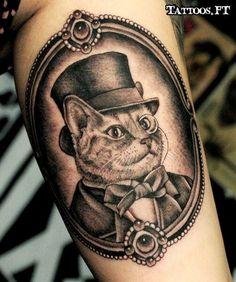 portrait chat tatouage mollet