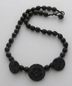 #Mourning Jewelry- An antique Victorian mourning necklace, made from French Jet (aka black glass). Real jet jewellery was expensive and rare – French Jet was a...