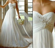 Long Chiffon Beach Wedding Dresses Modest Elegant Chiffon Wedding Ddress Bridal Dress Strapless Wedding Dress Fformal Dress