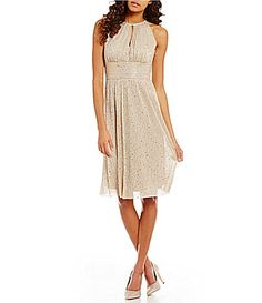 RandM Richards KeyholeNeck Sleeveless Empire Waist Metallic ALine Dress #Dillards