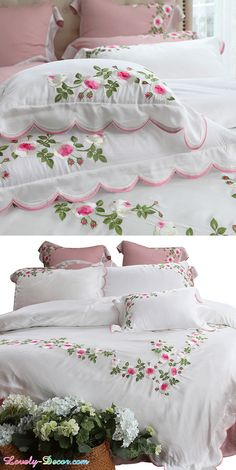 Perfect for your farmhouse decor, shabby chic decor, vintage decor. Shabby Chic Bedrooms, Shabby Chic Homes, Shabby Chic Furniture, Shabby Chic Decor, Vintage Decor, Chic Bedding, Blue Bedding, Luxury Bedding, Bedding Sets