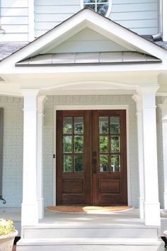 Exterior Double Front Doors Took Out Door And Sidelights And Replaced With Wood French Doors Fiberglass Double Entry Doors With Glass Wood French Doors Exterior, Exterior Doors, Colonial Exterior, Rustic Exterior, Cottage Exterior, Exterior Remodel, Door Design, House Design, Exterior Design