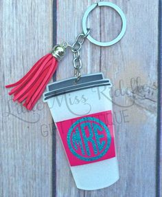 Monogrammed Acrylic Travel Cup Keychain with Tassel, Coffee Cup Keychain…