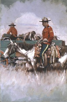Canadian Mounties with prisoners. An illustration by Harvey Dunn in early Canadian History, American History, Native American, Western Art, Western Cowboy, American Illustration, Illustration Art, Howard Pyle, Into The West