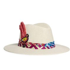 Venna Graphic print scarf flamingo patch feather panama hat (€300) ❤ liked on Polyvore featuring accessories, hats, white, white hat, patch hat, venna, white panama hat and couture hats