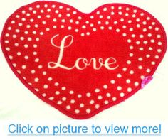 HEART-SHAPED ACCENT RUG LOVE Valentine's Day Red w/ Polka Dots