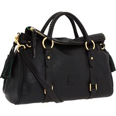 """""""Dooney & Bourke Florentine Vachetta Satchel"""" (black with black trim), ZAPPOS, $398. Literally the most gorgeous bag I've seen in my entire life. I love the handles and the shoulder crossbody. Swoon..."""