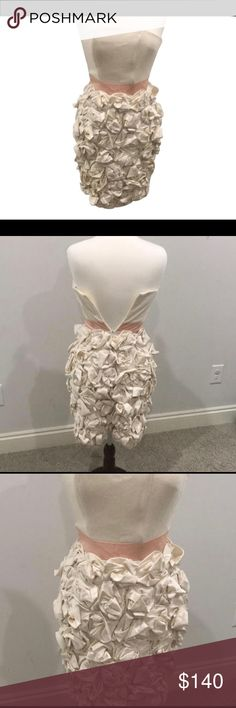 Kirribillie strapless dress with flower detail. Stunning from top to bottom. This fitted strapless dress is sure to draw the attention to you. Cream top with a petal wide waste finished by intricate flowers from the waist down. Perfect for a special evening or event. Dresses Strapless
