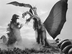 Godzilla (Left) is a fictional, Japanese, dinosaur-like monster. It first appeared in Ishiro Honda's 1954 film Godzilla and has been in a lot more since then. Godzilla is commonly referred to as King of the Monsters. Japanese Monster Movies, Old Posters, Classic Monsters, Weird Creatures, Creature Feature, Chor, King Kong, Horror Movies, Horror Art