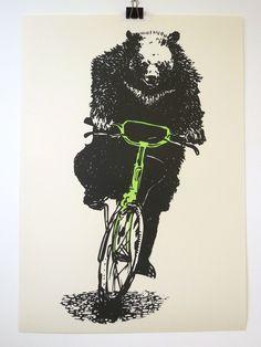 Linocut print - Bear on a bike