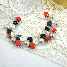 Bracelet, Red, White, Blue and Silver, Nautical Theme with Vintage Buttons £7.95