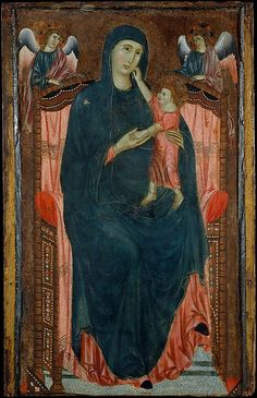Madonna and Child Enthroned with Angels Artist: Master of Varlungo (Italian, Florentine, active ca. 1285–ca. 1310) Medium: Tempera on wood, silver ground Dimensions: Overall 51 1/4 x 32 5/8 in. (130.2 x 82.9 cm); painted surface 50 1/4 x 28 in. (127.6 x 71.1 cm)