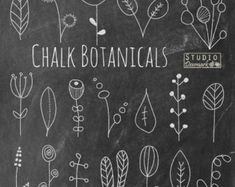 "Chalkboard Flower Doodles Clipart - ""Chalk Botanicals"" Hand Drawn Floral Chalk Flowers and Leaves - Commercial Use Instant Download"