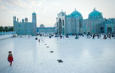 The Blue Mosque in the center of Mazar-e Sharif, Afghanistan. It was so rewarding to so many kids playing and being happy in this beautiful country when I was there this past May. Places To Travel, Places To See, Blue Mosque, Beautiful Mosques, Deep Blue Sea, Islamic Architecture, Travel Tours, Travel Hacks, Travel Ideas