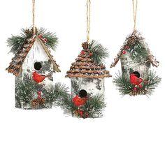 Large Vintage Birdhouse Ornament Set
