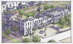 Walkable Mixed Use Redevelopment with Plaza Concept | TPUDC | Town Planning & Urban Design Collaborative