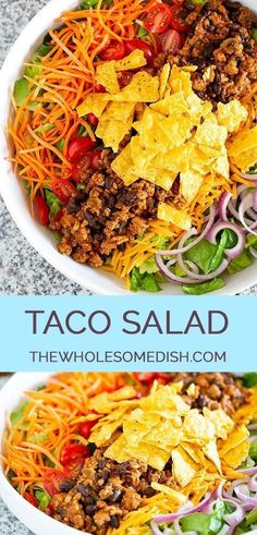 The Best Taco Salad Recipe has taco seasoned beef (turkey or chicken), black beans, veggies, and an easy taco salad dressing. tacosalad saladrecipe thewholesomedish via 92886811050959231 The Best Taco Salad Recipe, Taco Salad Recipes, Taco Salads, Healthy Salad Recipes, Mexican Food Recipes, Veggie Taco Salad, Dinner Salad Recipes, Beef Taco Salad Recipe, Jello Salads