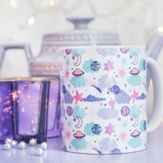 Space Patterned Mug - Look For Stars Collection - Galaxy Shooting Stars