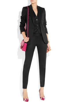 Stella McCartney | Velez wool-twill skinny pants, blazer and top; Nicholas Kirkwood shoes and Reed Krakoff bag.