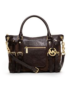 MICHAEL Michael Kors Large McGraw Buckled Satchel.  Coffee suede and leather.
