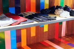 Futura Laboratories store, Japan    rainbow colors on wood.