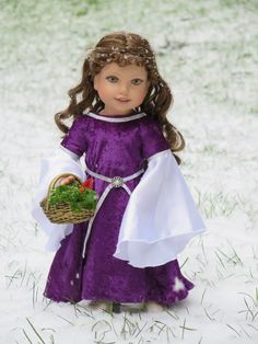 18 Inch Doll Medieval Renaissance Princess Dress - Purple and Silver - 18 Inch Doll Costume - Medieval Doll Dress - Halloween Doll Costume