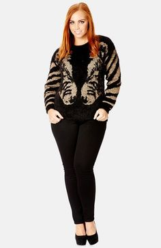 City Chic Metallic Zebra Sweater (Plus Size) available at #Nordstrom