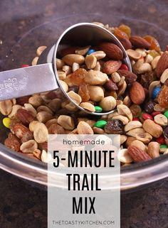 Homemade Trail Mix is a quick and easy snack to keep on hand for between meals, on a hike, or after a workout. A nice blend of sweet and salty ingredients. Homemade Trail Mix, Sweet And Salty, Easy Snacks, Meals, Breakfast, Food, Kitchen, Morning Coffee, Cooking