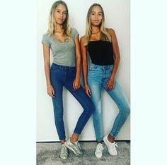 (notitle) - Lisa and Lena - Lisa Or Lena, Bff Goals, Date Outfits, Celebs, Celebrities, Girly Things, Mom Jeans, Twins, Hot