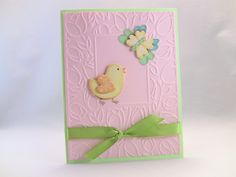 Handmade Easter Card, Kids' Easter Card, Embossed, 3-D Easter Greeting Card, Easter Chick and Butterfly Card. $3.00, via Etsy.