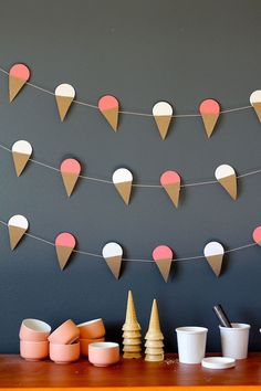 Ice cream cone garland and ice cream bar.